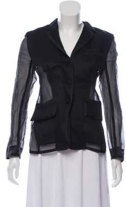 Thom Browne Lace-Paneled Semi-Sheer Blazer w/ Tags Black Lace-Paneled Semi-Sheer Blazer w/ Tags