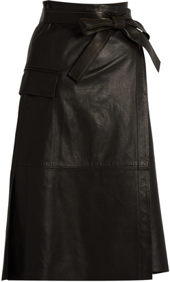 HELMUT LANG Leather wrap skirt $1,195 thestylecure.com