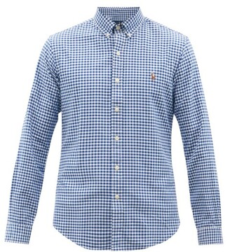 Polo Ralph Lauren Logo Embroidered Gingham Cotton Shirt - Mens - Blue Multi