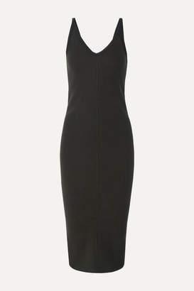 James Perse Ribbed Stretch Cotton-blend Midi Dress - Gray