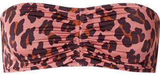 Stella McCartney Ruched Leopard-print Bandeau Bikini Top - Antique rose