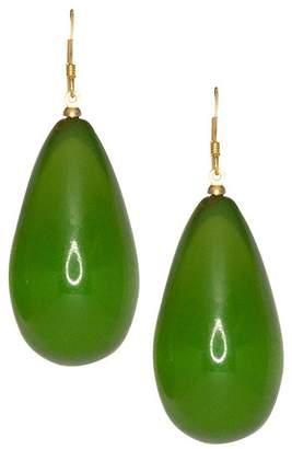 Kenneth Jay Lane Green Teardrop Fishhook Pierced Earrings