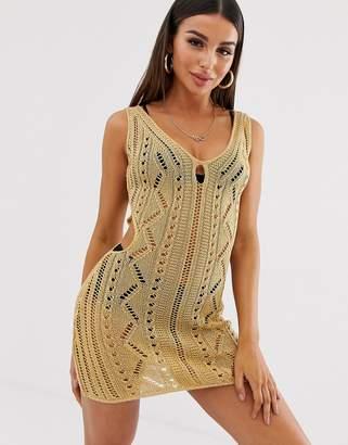 Asos Design DESIGN crochet cut out mini bodycon dress