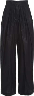 Vika Gazinskaya High-Waisted Pleated Cotton Pants