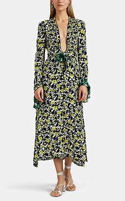 Proenza Schouler Women's V-Neck Floral Crepe Long Dress - White Pat.