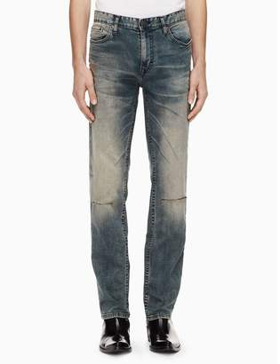 Calvin Klein slim straight fatigue destructed jeans