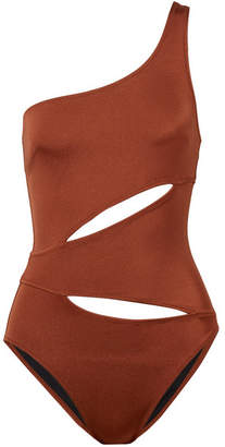 Solid & Striped The Louise One-shoulder Cutout Swimsuit - Claret