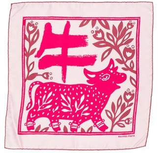 Hermes Année Du Buffle Silk Pocket Square