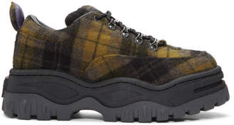 Eytys Black and Khaki Tartan Angel Sneakers