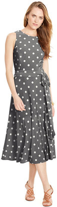 Lauren Ralph Lauren Polka-Dot-Print Crewneck Dress $119 thestylecure.com