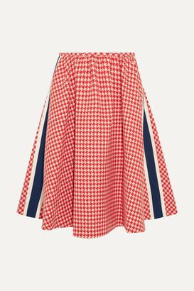 Prada Paneled Houndstooth Wool Skirt - Red