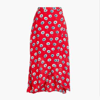J.Crew Printed faux-wrap midi skirt