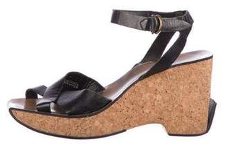 DKNY Leather Crossover Wedges
