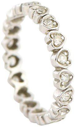 One Kings Lane Vintage Diamond Heart Gold Eternity Band - Owl's Roost Antiques