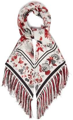 Gabriela Hearst Floral Print Fringed Silk Scarf - Womens - Red
