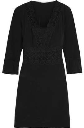 Vanessa Bruno Flirt Lace-Paneled Silk Mini Dress