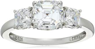 Swarovski Amazon Collection Platinum Plated Sterling Silver Three-Stone Anniversary Ring set with Asscher Cut Zirconia (3 cttw), Size 5