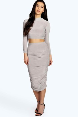 boohoo Rouched Sleeve Midi Skirt Co-Ord Set