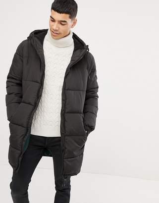 Esprit puffer coat in black with hood