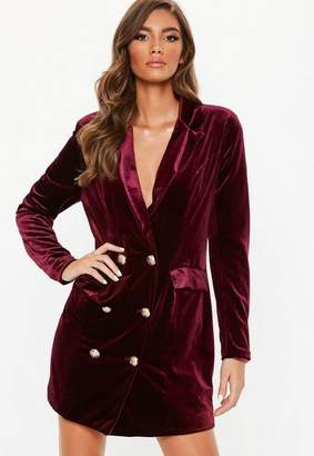 Missguided Burgundy Double Breasted Velvet Blazer