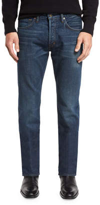 TOM FORD Regular-Fit Selvedge Harrison Wash Denim Jeans, Blue $680 thestylecure.com