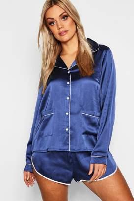 boohoo Plus Button Down Pyjama Shirt Set