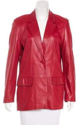 Max Mara Leather Notch-Lapel Jacket