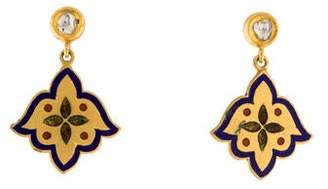 Amrapali 18K Diamond & Enamel Holi Drop Earrings