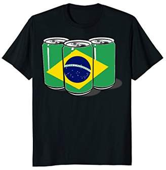 Patriotic Beer Cans Brazil Brazilian Flag Tee Shirt