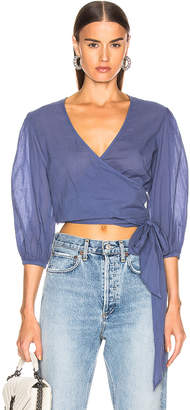 Enza Costa Puff Sleeve Wrap Top in Vintage Blue | FWRD