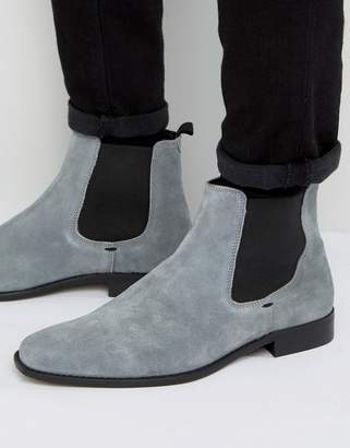 Dune Marky Chelsea Boots In Grey Suede