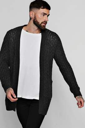 BoohooMAN Edge To Edge Honeycomb Knit Longline Cardigan