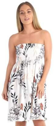 71a66c431c7 Little Princess Ladies Printed Sheering Bandeau Boob Tube Summer Beach Top  Mini Dress Plus Size(