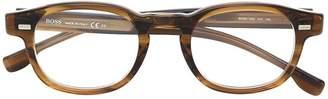 HUGO BOSS tortoiseshell-effect square glasses