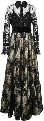 Badgley Mischka longsleeved contrasting evening dress