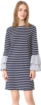 Clu Clu Too Striped Dress with Contrast Ruffles $176 thestylecure.com