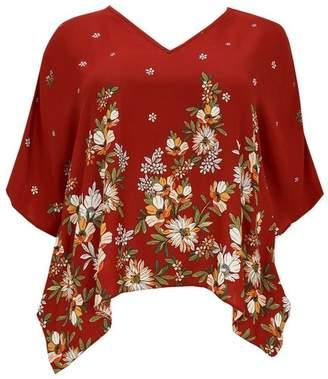 Evans Red Floral Print Kaftan Top