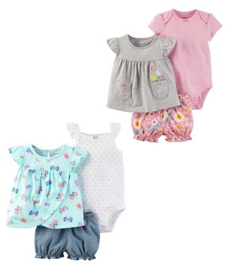 Carter's Baby Girl Dress, Shorts & Bodysuit 6pc Outfit Set