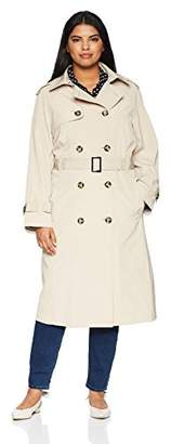 London Fog Women's Midi-Length Plus Size Trench Coat