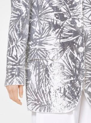 Michael Kors Leaf Sequin Double Crepe-Sable Blazer