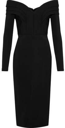 Cushnie et Ochs Off-The-Shoulder Pleated Stretch-Cady Dress