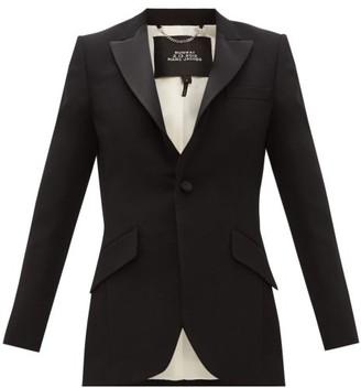 Marc Jacobs Single Breasted Satin Trim Wool Tuxedo Jacket - Womens - Black