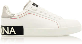 Dolce & Gabbana Metallic Leather-Trimmed Logo Sneakers