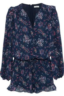 Joie Cherita Ruffle-Trimmed Floral-Print Silk-Chiffon Playsuit