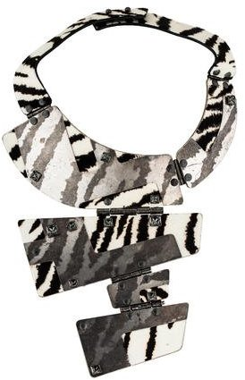 Lanvin Lanvin Printed Ponyhair & Crystal Hinged Plate Necklace