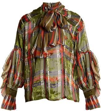 Preen by Thornton Bregazzi Marina checked silk-blend devoré shirt