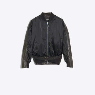 Balenciaga Hybrid garment made of leather jacket combine bomber jacket