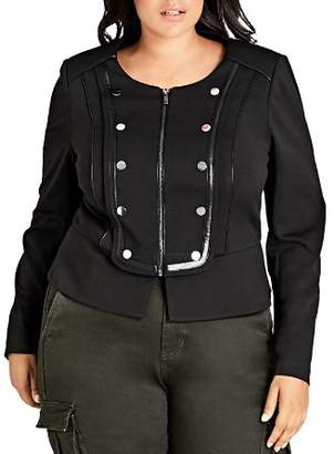 City Chic Plus Military Zip-Front Jacket