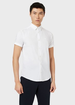 Emporio Armani Short-Sleeved Stretch Cotton Poplin Shirt
