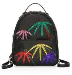 Les Petits Joueurs Mick Palms Embroidered Leather Backpack